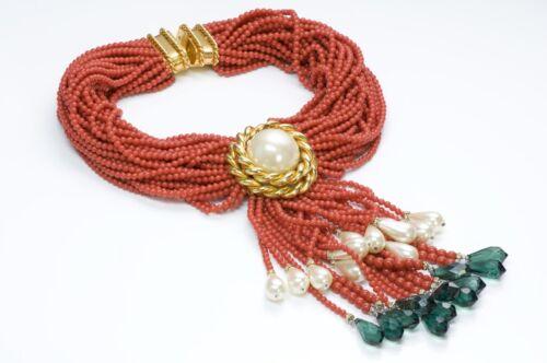 VALENTINO Garavani Couture 1980's Faux Coral Pearl