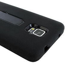 For Samsung Galaxy Note 4 Black Tough Rugged Impact Hybrid Hard Case Cover Stand