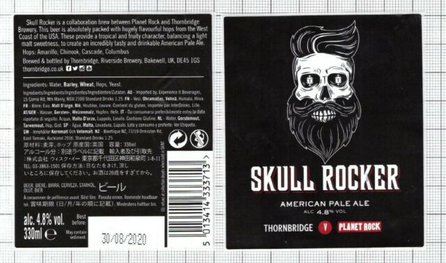 ENGLAND,UK Thornbridge,Riverside Brewery SKULL ROCKER beer label C2240 007