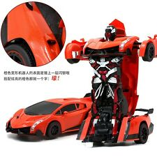 USA SELLER Transformer Remote  Control Deformation  Robot Car Lamborghini orange