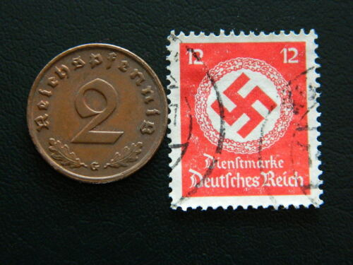 2 pfennig and stamp with Swastika C19 Set of Germany coin