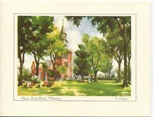 VINTAGE-VIRGINIA-WILLIAMSBURG-BRUTON-PARISH-CHURCH-PRINT-1-BROOK-TROUT-FISH-CARD