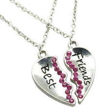 Halskette Freundschaftskette Best Friends Anhänger Herz 2 Kette Strass Damen