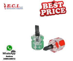 SET-2-PEZZI-GIRAVITE-NANO-MAGNETICO-CROCE-E-SPACCATO-mini-cacciavite