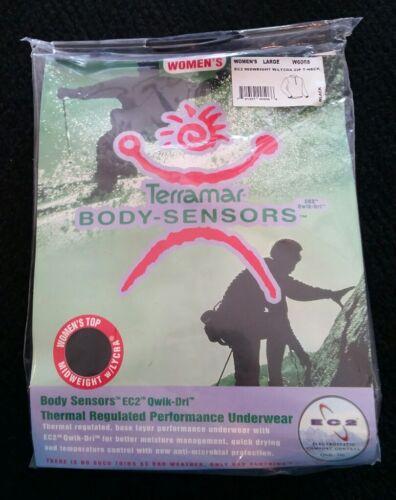 New Midweight Terramar Women/'s Body Sensors 1//2 Zip Black Large L