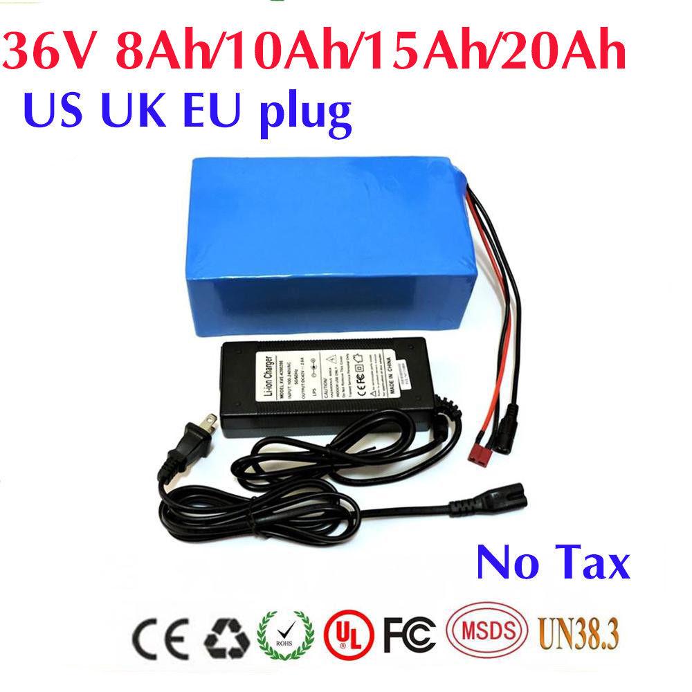 36V 8 10 15 20Ah 18650 Celdas Li-Oin Batería para Bicicleta eléctrica con funda de PVC