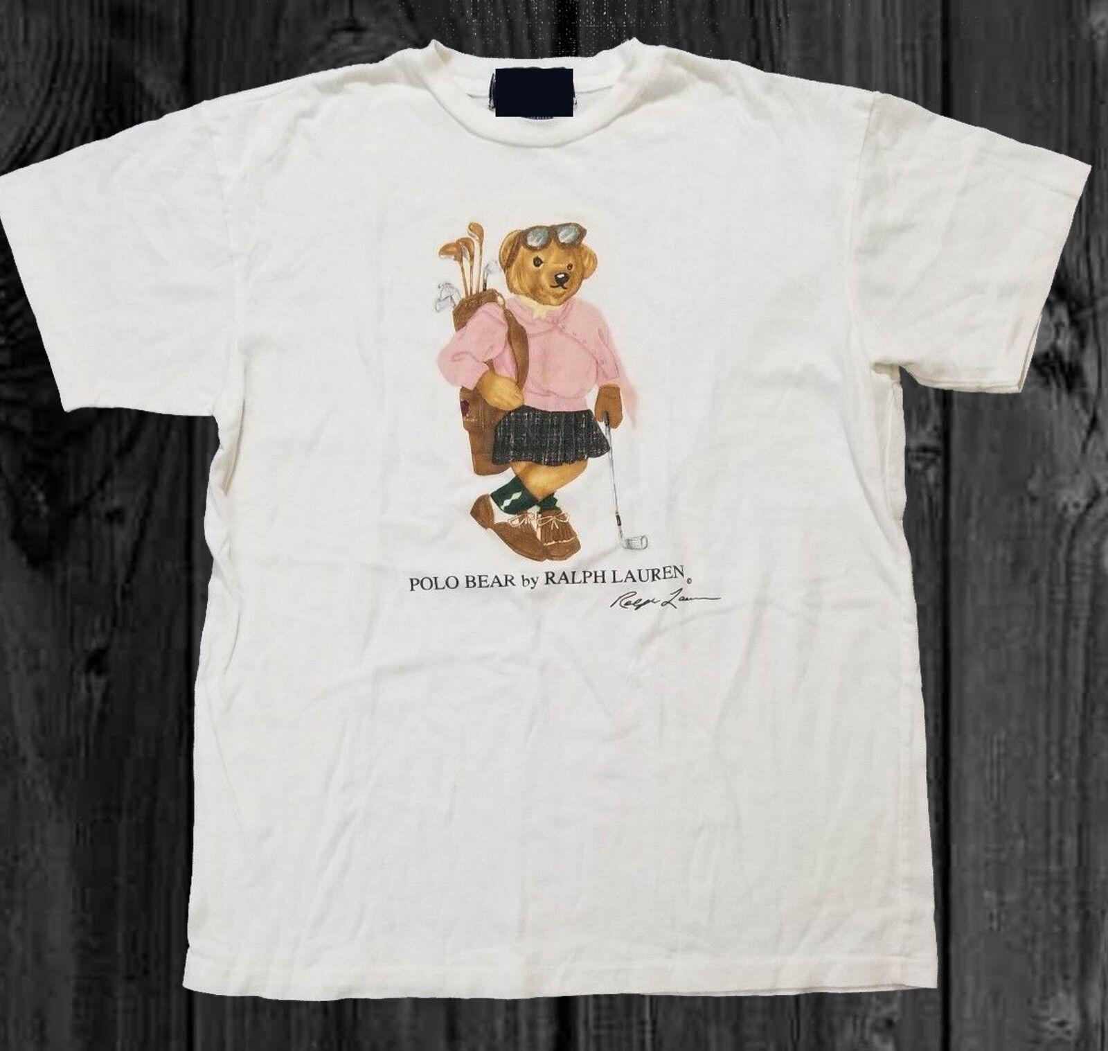 8d27850b9 Vintage Polo Bear Womens Golf T shirt Size Reprint Rare short sleeve men  Tee T shirt o-neck knitted comfortable fabric