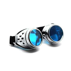 Steampunk-Goggles-Silver-with-Blue-Lenses-Cyber-Vintage-Retro-Welding-Glasses-UK
