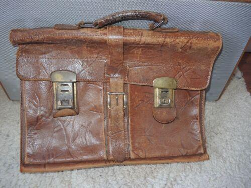 Klassiker Tasche Dünne Aktentasche Leder braun hell -- Selten -- Vintage