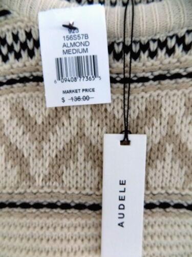 marrone chiaro Beige Long Nwt 136 Maglione M Zipper Isle Trim Pattern Fair Pullover nYwwqf80H