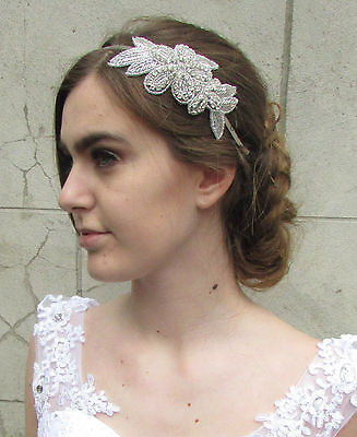 Silver Diamante Flower Headband Headpiece Vintage Prom Bridal Flapper 1920s M28
