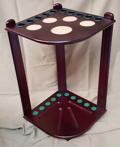 Snooker Pool Cue Rack 8 Cues Wooden Mahogany Wall Mounted 2 Piece Holder Rest