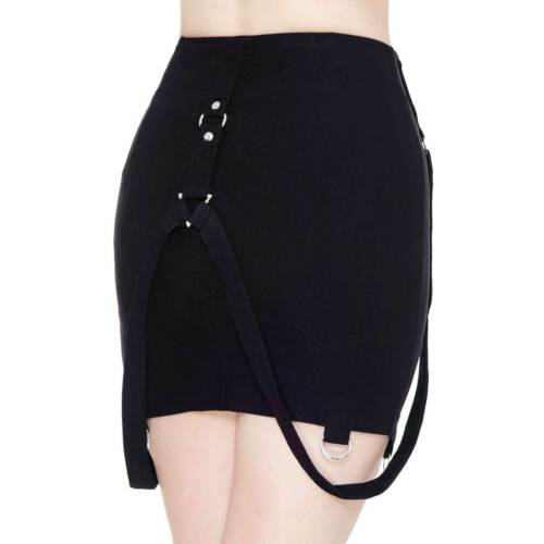 Killstar Adele Mini-jupe gothique noir 40 cm DARKLANDS Bond Courroie zips Stretch