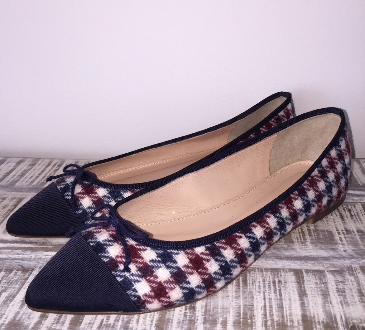 JCrew  118 Gemma Cap-Toe Flats in Tweed Sz 6.5 Ivory Burgundy Navy F5518