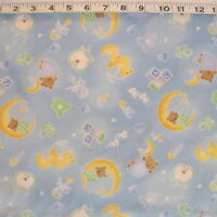 C1346-06 Fabri-quilt sleepy Time Blue Cotton Baby Fabric By The Yard