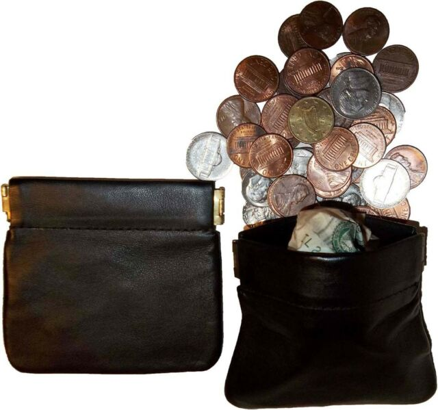 New Leather Squeeze change purse metal framed coin holder squeezed coin case bn