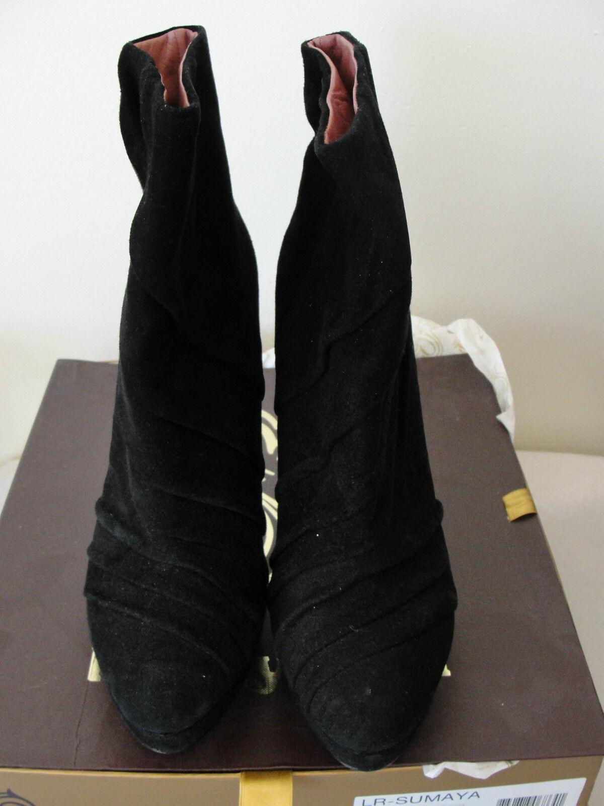 275 Luxury Rebel Sumaya Sumaya Sumaya Women Suede Ankle Boots BLK 41 10.5 f8e137