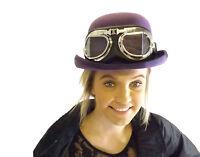 Victorian Steampunk Festival Bowler Hat Goggles Black Brown Purple Green