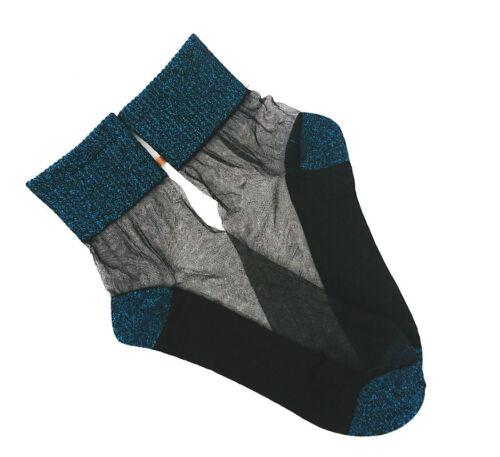 Elegant Sheer Comfortable Peacock Blue Sparkly Shimmer Socks Gift 1pr