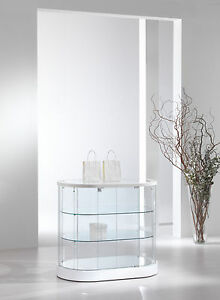 Details about Showcase Low Hutch Exhibitor Display Showcase Counter Oval  Glass Leather- show original title