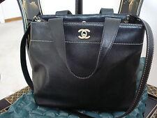 AUTH. Chanel Black Caviar Leather CC Logo Medium Tote Bag - USED