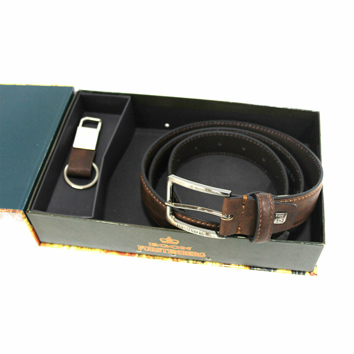 Men's set faux leather belt 35 mm high size 125 and keychain in box brown
