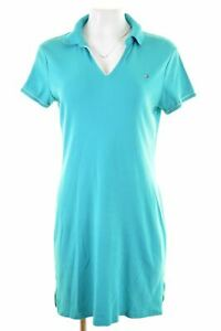 TOMMY-HILFIGER-Womens-Polo-Dress-Size-14-Large-Turquoise-Cotton-KW20