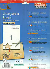 Decadry OLW-4839 20 Permanent Transparent Labels A4 Blank Label Sheets
