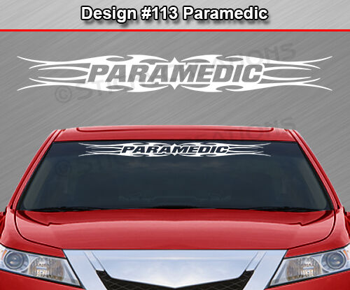 #113 PARAMEDIC Tribal Flame Windshield Decal Back Window Sticker Graphic EMT Car