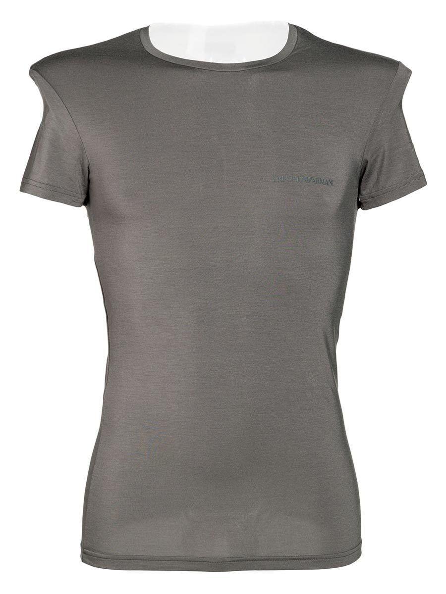 T-shirt Grigia a Manica Corta Girocollo in Modal 1113415P51113343 - Emporio A...