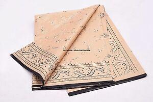 100% Pure Silk Saree Black Hand Printed Sari Craft Ethnic Fabric Indian Sari
