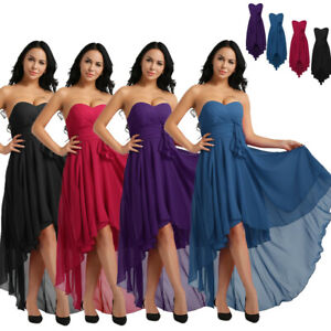 Women-Strapless-Chiffon-High-Low-Bridesmaid-Dresses-Evening-Party-Gown-Cocktail
