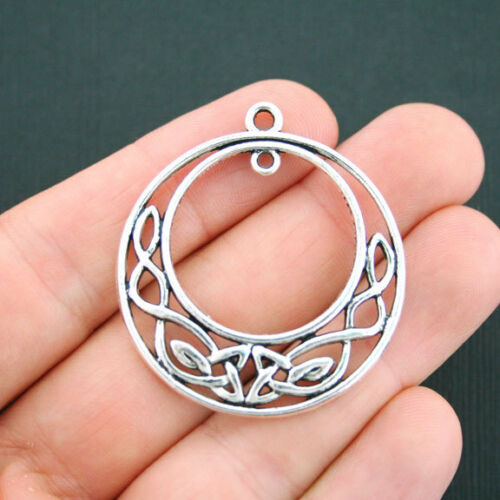 SC2285 2 Celtic Circle Charms Antique Silver Tone Large Size Dangle Connector