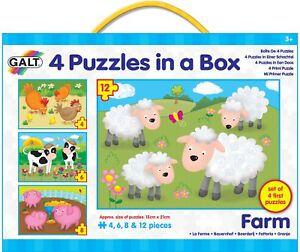 Galt-4-Puzzles-In-A-Box-Farm-Baby-Toddler-Child-Jigsaw-Shape-Sorter-Animal-BN