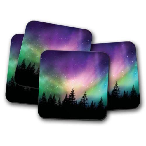 4 Set-Aurora Borealis Coaster-Forest NORTHERN LIGHTS CIEL de nuit Cadeau #8603