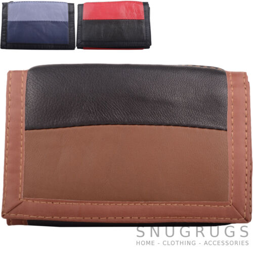 Coin Boys Tri-Fold Leather Wallet Gents Money Holder Mens