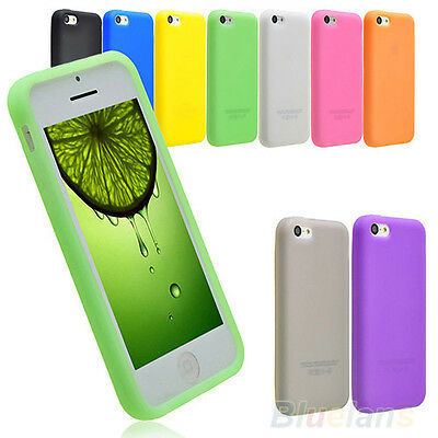 Soft Silicone Rubber For iPhone 5C/5S Screen Protector Back Case Cover Skin BJ3U