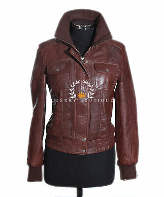 Natalie Ladies Brown Women's Smart Casual Real Lambskin Leather Jacket