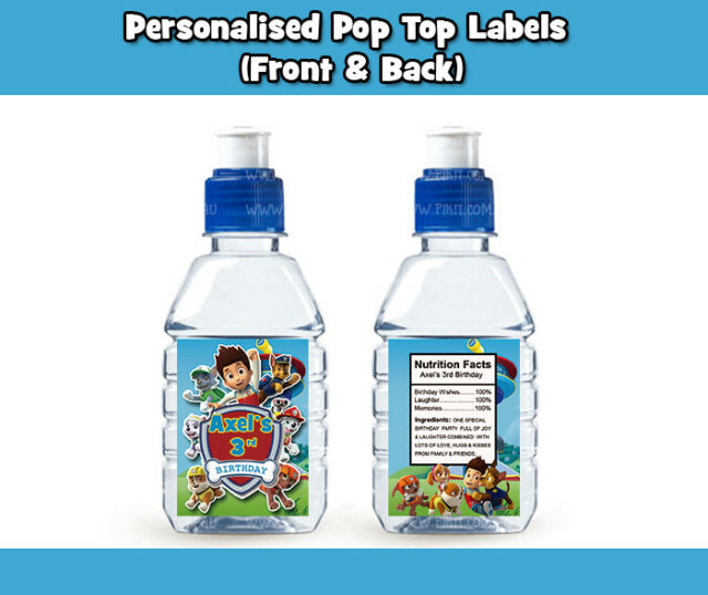 PAW PATROL POP TOP LABEL STICKER PARTY LOLLY SUPPLIES TAG LOOT BAG TOPPER FAVOUR
