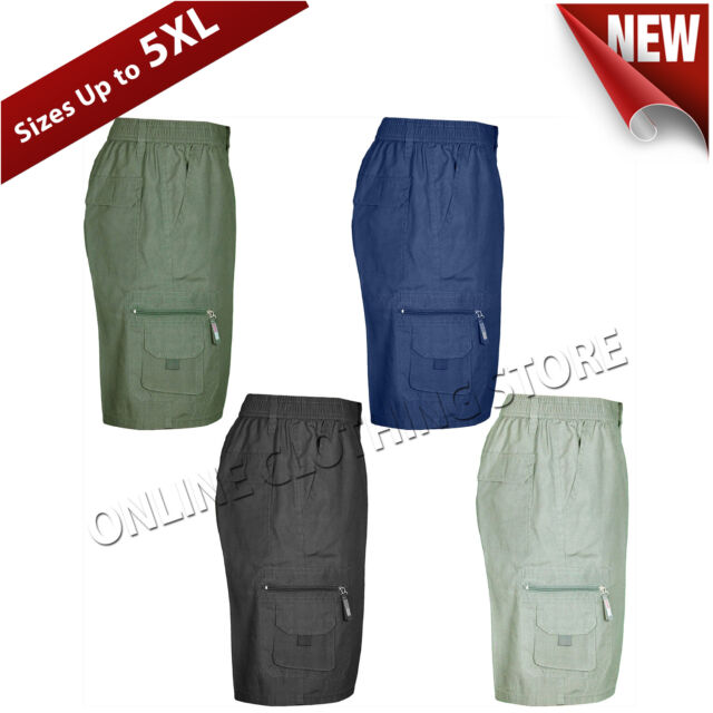 Mens Plain Cotton Mix Summer Shorts With Cargo Combat Pockets S-5XL