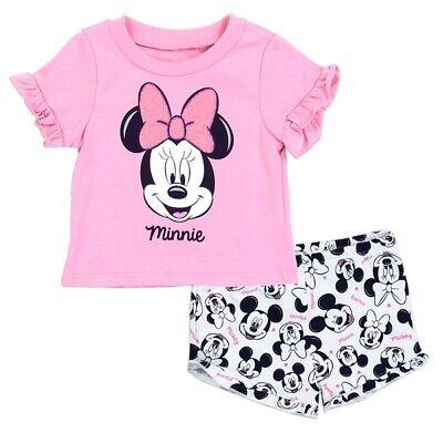 Infant Girl/'s 2-Piece Short Set Disney Baby Minnie Mouse Top Shirt Bike Shorts
