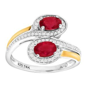 1-1-8-ct-Natural-Ruby-amp-1-5-ct-Diamond-Bypass-Ring-in-Sterling-Silver-amp-14K-Gold
