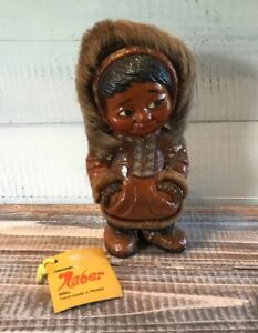 Vintage-W-Tag-Eskimo-Wooden-Naber-Doll-Handmade-in-Alaska-7-25-034-Tall-034-Real-Fur-034