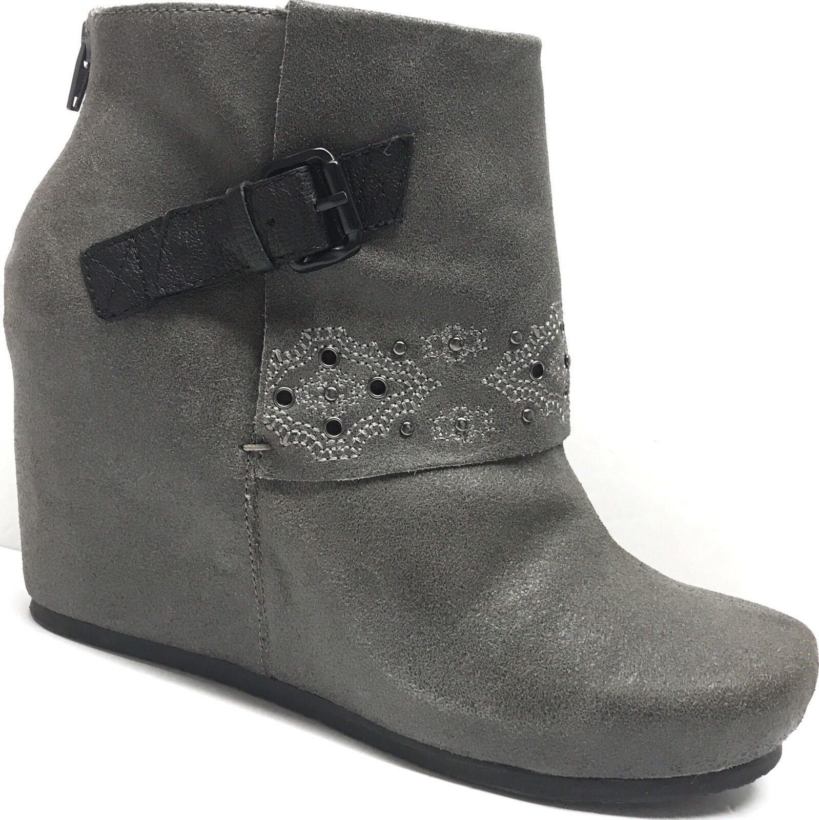 OTBT Robertson Leather Stud Zip Covered Wedge Heel Ankle Bootie shoes Boots 10