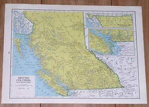 1950 ORIGINAL VINTAGE MAP BRITISH COLUMBIA VANCOUVER VERSO ...