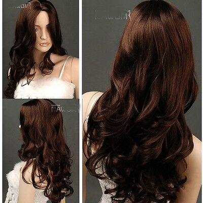 Womens Black/Brown Hair Curly Wavy Long Wigs Cosplay Skin Top Bang Party Wig