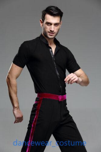 Men/'s Short Sleeve Party Ballroom Latin Tango Samba Salsa Dance Dress Shirt Tops