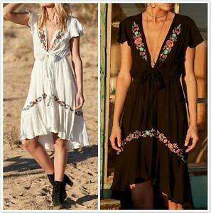 AU SELLER BOHO Cotton Embroidery Tunic Kaftan Dress/Beach Kimono Cover Up dr093
