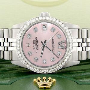 Women-039-s-Rolex-Datejust-31mm-S-S-Jubilee-Watch-w-Pink-Roman-Dial-amp-Diamond-Bezel
