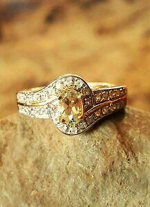Turkish-Diaspore-Csarite-White-Zircon-Ring-Size-7-14K-Yellow-Gold-OL-S-S